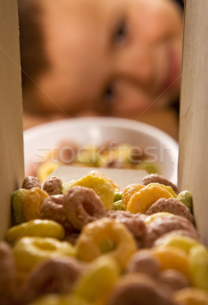 Boy eagerly waiting for the breakfast cereals Stock photo © lightkeeper