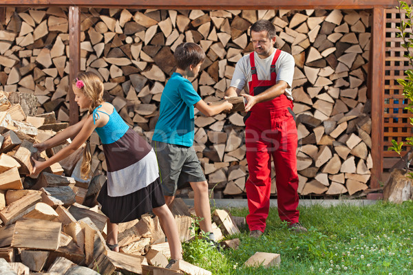 Kids helping their father to stack the firewood Stock photo © lightkeeper