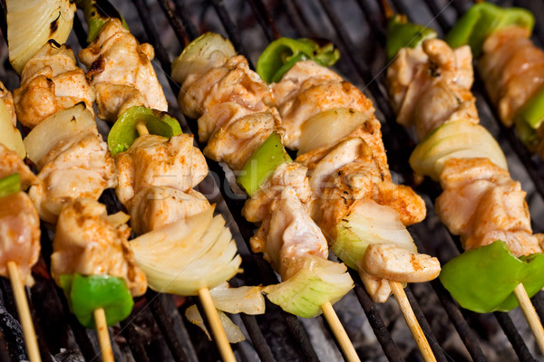 Meat and vegetables on barbecue sticks - closeup Stock photo © lightkeeper