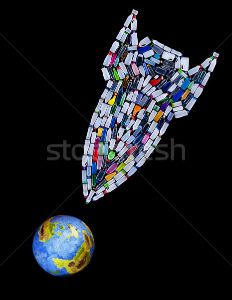 Rocket bomb made of plastic bottles threatening our planet Stock photo © lightkeeper