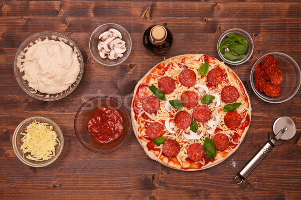 Pizza pronto bake top view Foto d'archivio © lightkeeper