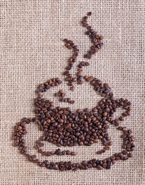 Kahve fincanı fasulye çuval bezi çanta fincan Stok fotoğraf © lightkeeper