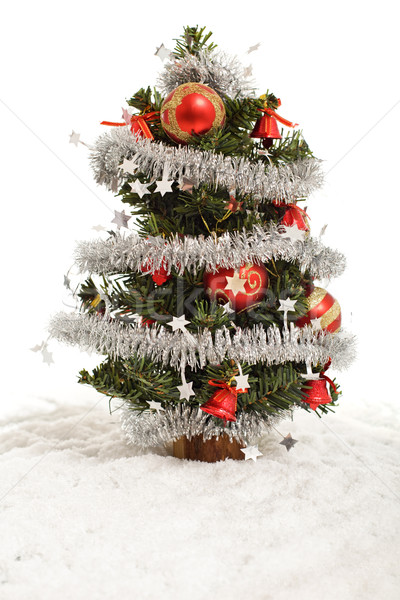 Small decorative christmas tree in artificial snow Stock photo © lightkeeper
