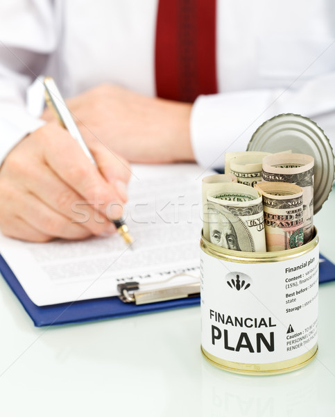 Stock fotó: üzletember · készít · pénzügyi · terv · közelkép · kinyitott