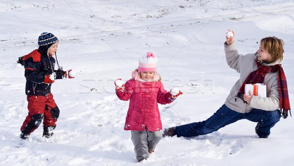 Enjoying first or last snow Stock photo © lightkeeper