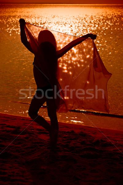 Kislány tánc fátyol tengerpart naplemente gondtalan Stock fotó © lightkeeper
