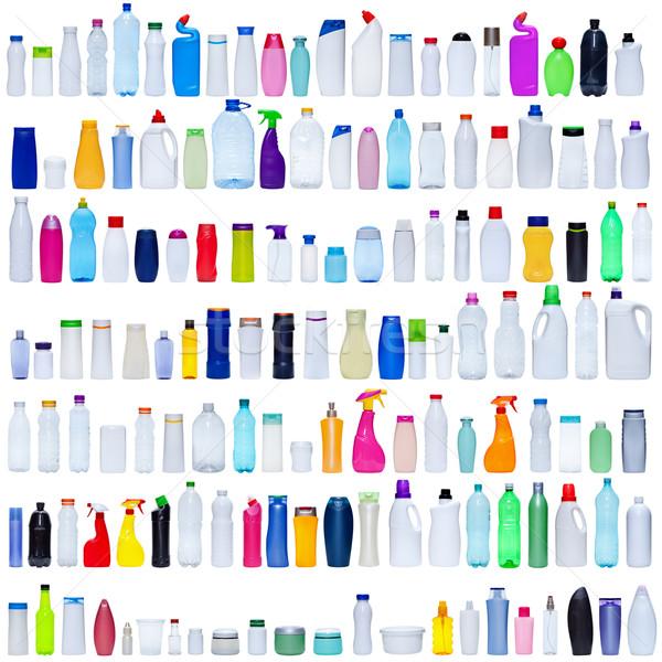 Groß Set Kunststoff Flaschen isoliert weiß Stock foto © lightkeeper