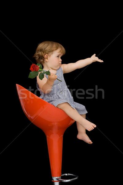 Baby girl on a stylish stool Stock photo © lightkeeper