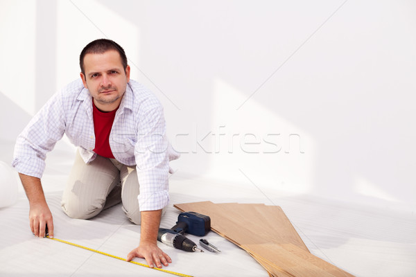 Installing laminate flooring - the isolation layer Stock photo © lightkeeper