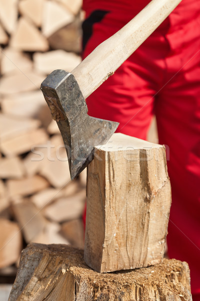 Detail of man chopping firewood Stock photo © lightkeeper