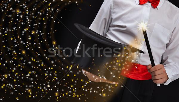 Mago manos estrellas varita mágica corriente Foto stock © lightkeeper