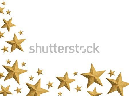 Golden Christmas stars stream - isolated Stock photo © lightkeeper