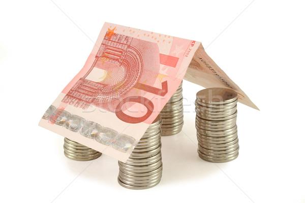 деньги дома монетами евро банкнота недвижимости Сток-фото © lightkeeper