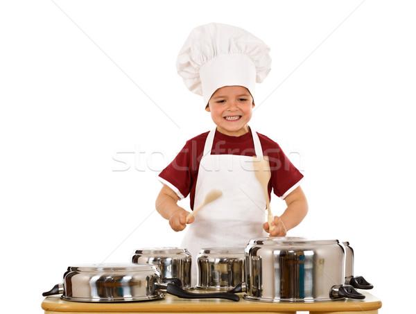Gotowania zabawy bić ekstatyczny chłopca kucharz Zdjęcia stock © lightkeeper