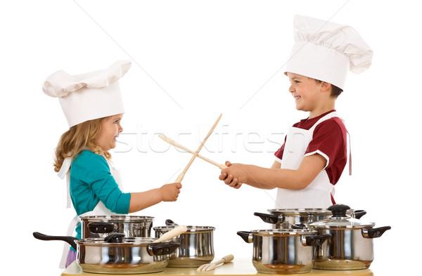 Chefs duel bois ustensiles Kid Photo stock © lightkeeper