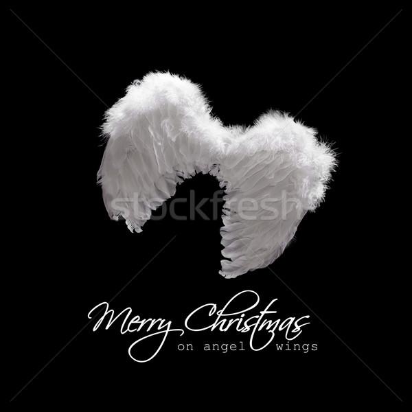 Angyalszárnyak fölött fehér karácsony üdvözlet fekete Stock fotó © lightkeeper
