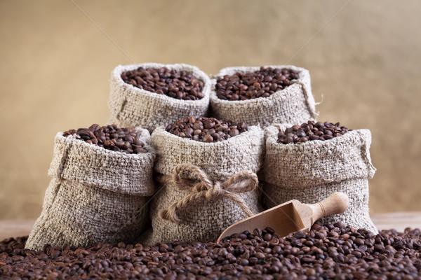 Grains de café faible toile de jute sacs texture Photo stock © lightkeeper