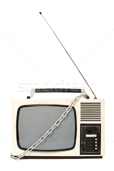 Chained vintage television set Stock photo © lightkeeper