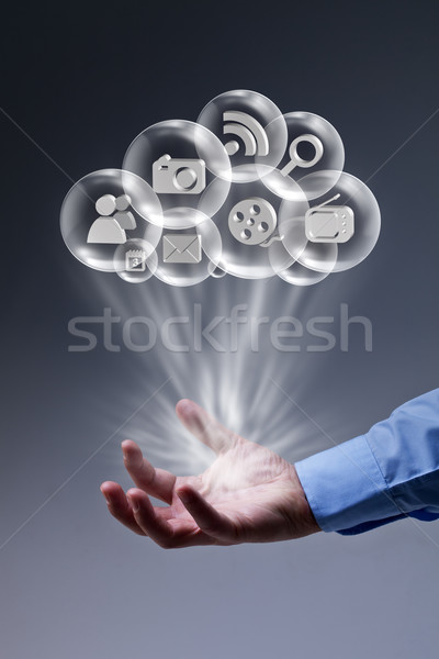 Cloud computing applications at your fingertips Stock photo © lightkeeper