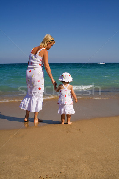 Woman and little girl walking on the beach Stock photo © lightkeeper