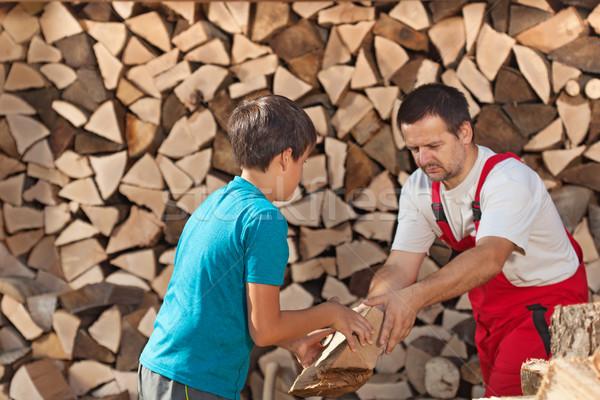 Stok fotoğraf: Erkek · yardım · baba · yakacak · odun · çocuklar · ahşap