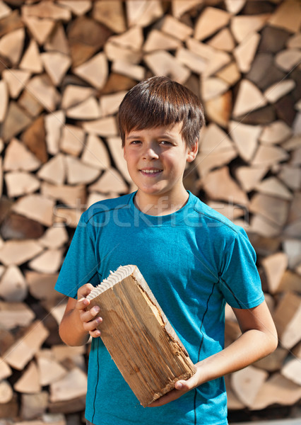Boy stacking firewood Stock photo © lightkeeper