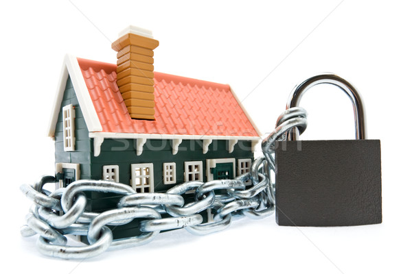 дома цепями заблокированный замок белый бизнеса Сток-фото © lightkeeper