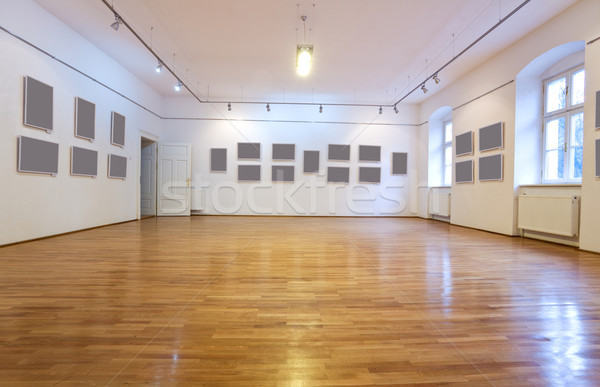 Empty art gallery with blank pictures Stock photo © lightkeeper
