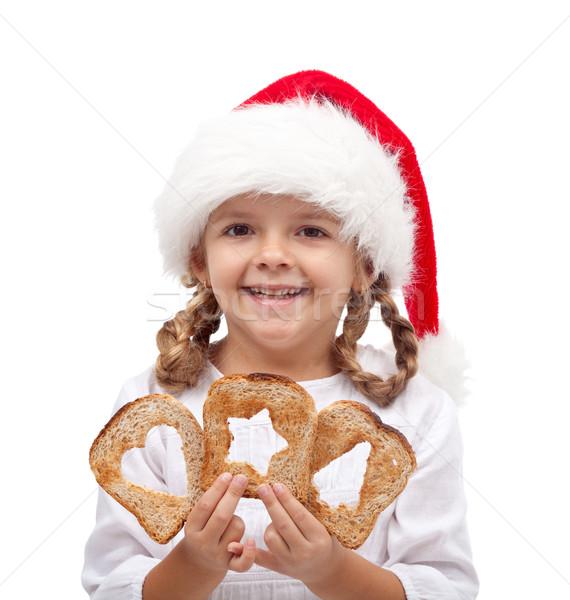 Umut muhtaç Noel zaman küçük kız dilimleri Stok fotoğraf © lightkeeper