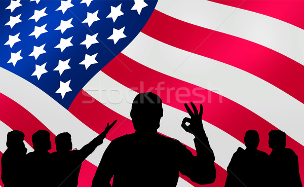 American presidential elections - crowd looking at banner Stock photo © lightkeeper