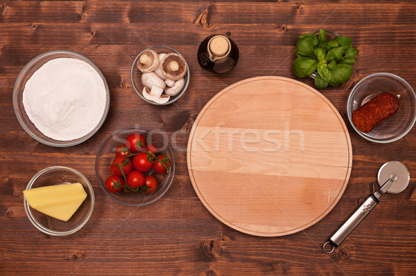 Ingredienti pizza home top view Foto d'archivio © lightkeeper