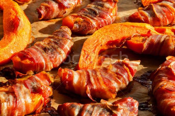 Kabak dilimleri domuz pastırması fırın gıda Stok fotoğraf © lightkeeper