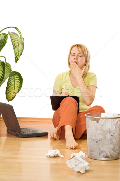 Tired overworked woman - isolated Stock photo © lightkeeper