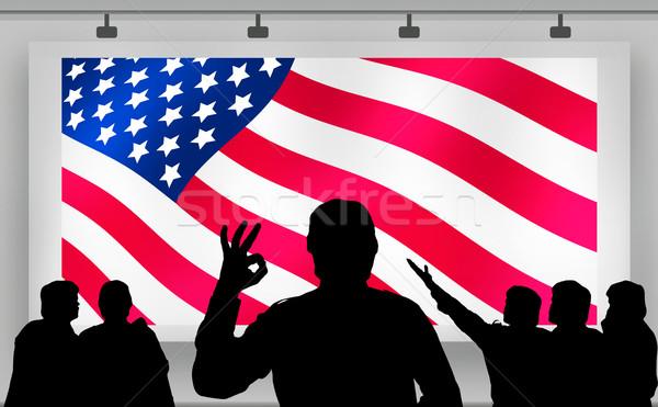 Americano presidencial eleições multidão olhando bandeira Foto stock © lightkeeper