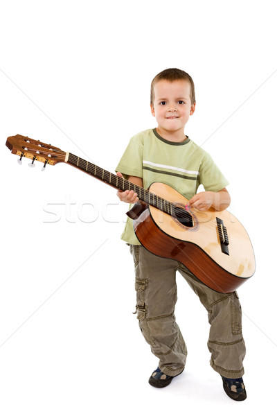 Little boy with acoustic guitar Stock photo © lightkeeper