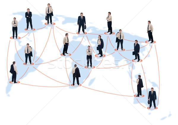 Business network światowy biznesmenów inny pozycje człowiek Zdjęcia stock © lightkeeper