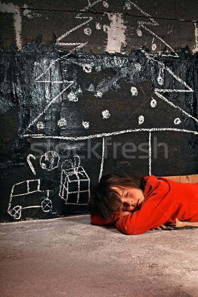 Szegény fiú álmodik karácsony ajándékok alszik Stock fotó © lightkeeper