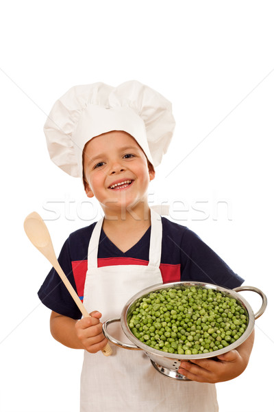 Stock fotó: Boldog · szakács · friss · zöld · zöldborsó · gyerek