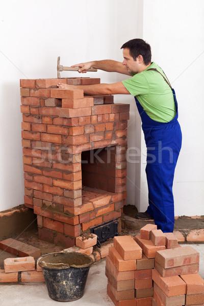 Işçi Bina tuğla soba yapı blokları yangın Stok fotoğraf © lightkeeper
