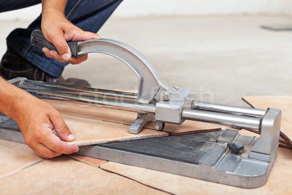 Сток-фото: работник · полу · плитки · строительство