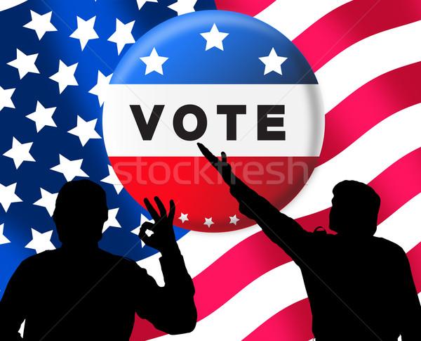 Americano presidencial eleições bandeira homem assinar Foto stock © lightkeeper
