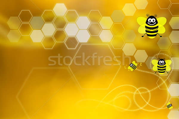 Golden wallpaper with honeycomb and bees Stock photo © lightkeeper