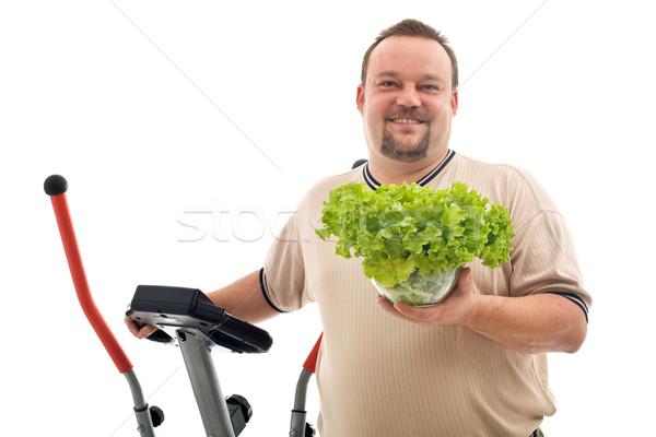 Sovrappeso uomo sani esercizio alimenti freschi Foto d'archivio © lightkeeper
