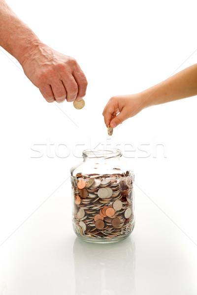 Foto d'archivio: Finanziaria · istruzione · senior · bambino · mani · monete