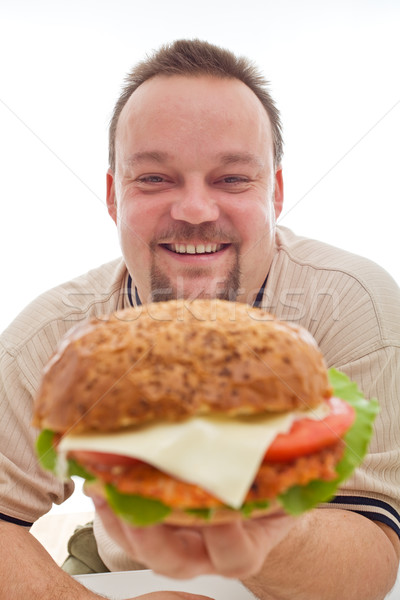 Man happy with the size of his hamburger Stock photo © lightkeeper
