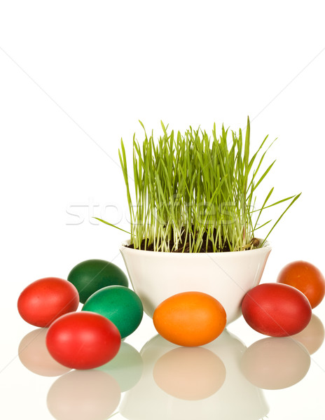 Easter and spring symbols - grass and dyed eggs Stock photo © lightkeeper