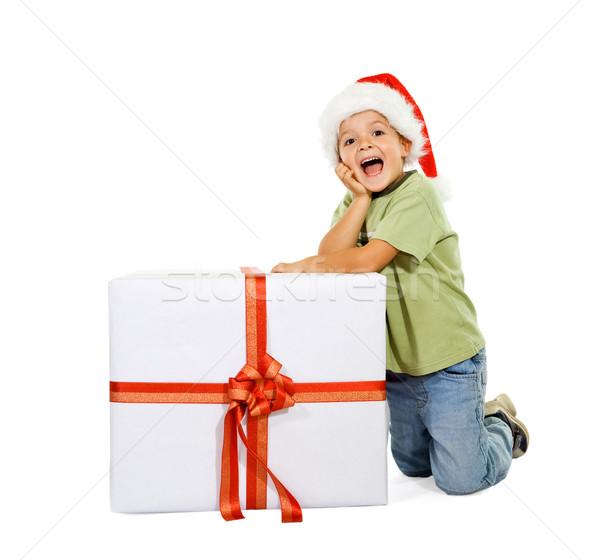 Aufgeregt Junge groß vorliegenden Weihnachten Zeit Stock foto © lightkeeper