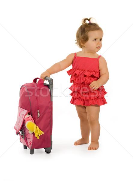Rood reiziger rode jurk zak naar Stockfoto © lightkeeper