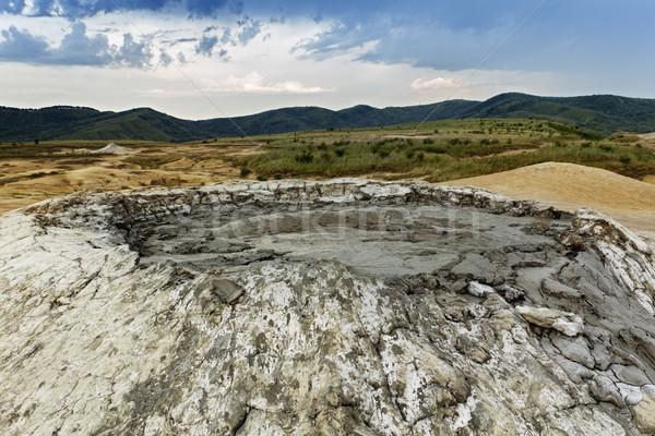 Foto stock: Lama · vulcão · montanhas · tempestuoso