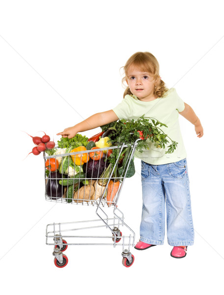 Petite fille aliments sains panier alimentaire heureux vert Photo stock © lightkeeper
